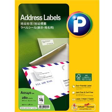 地址标签A0140-20,  99.1mm x 38.1mm, 14枚/页, 20页/盒, 280枚/盒