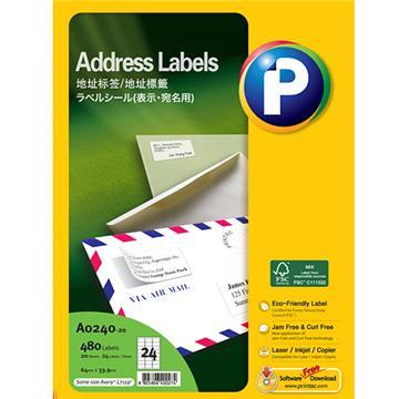 地址标签A0240-20, 64mm x 33.9mm,  24枚/页, 20页/盒, 480枚/盒