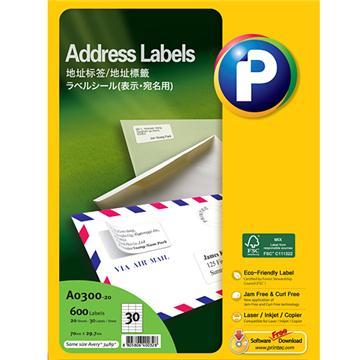 地址标签A0300-20, 70mm x 29.7mm,  30枚/页, 20页/盒, 600枚/盒