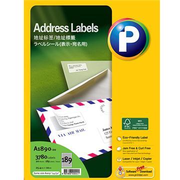 地址标签A1890-20,  25.4mm x 10mm, 189枚/页, 20页/盒, 3780枚/盒