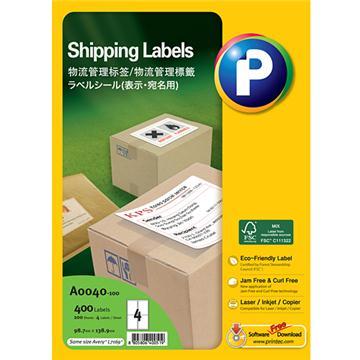物流管理标签A0040-100,  99mm x 139mm,  4枚/页, 100页/盒, 400枚/盒