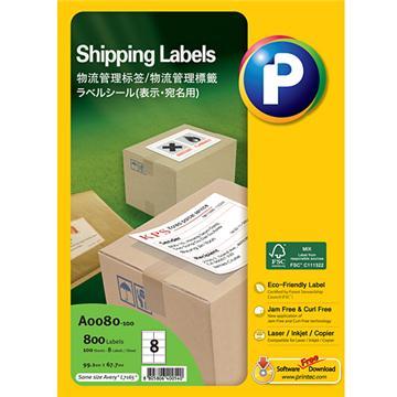 物流管理标签A0080-100, 99.1mm x 67.7mm,  8枚/页, 100页/盒, 800枚/盒