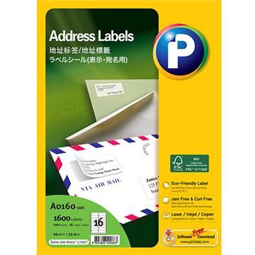 地址标签A0160-100,  99.1 mmx 33.9mm,  16枚/页, 100页/盒, 1600枚/盒