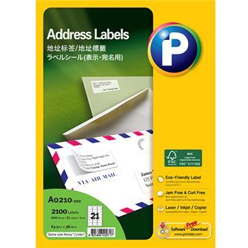 地址标签A0210-100, 63.5mm x 38.1mm,  21枚/页, 100页/盒, 2100枚/盒