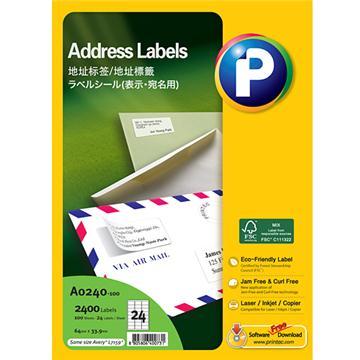 地址标签A0240-100, 64mmx 33.9mm,  24枚/页, 100页/盒, 2400枚/盒