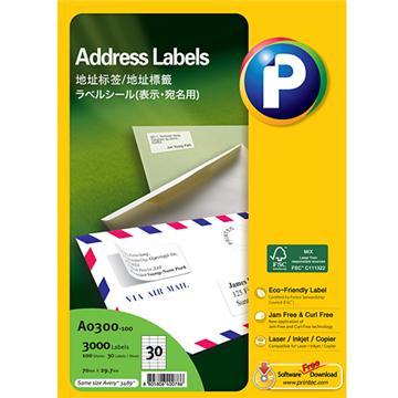 地址标签A0300-100, 70mm x 29.7mm,  30枚/页, 100页/盒, 3000枚/盒